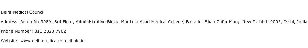 Delhi Medical Council Address Contact Number