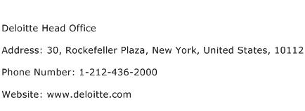 Deloitte Head Office Address Contact Number