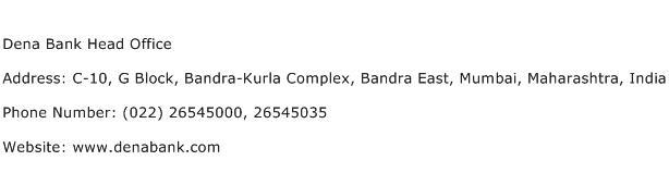 Dena Bank Head Office Address Contact Number