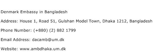 Denmark Embassy in Bangladesh Address Contact Number