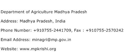 Department of Agriculture Madhya Pradesh Address Contact Number
