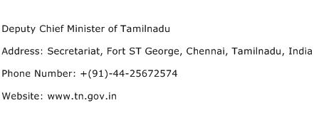 Deputy Chief Minister of Tamilnadu Address Contact Number