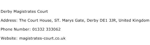 Derby Magistrates Court Address Contact Number