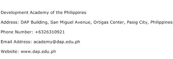 Development Academy of the Philippines Address Contact Number