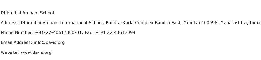 Dhirubhai Ambani School Address Contact Number