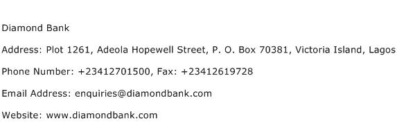 Diamond Bank Address Contact Number