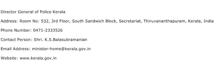 Director General of Police Kerala Address Contact Number
