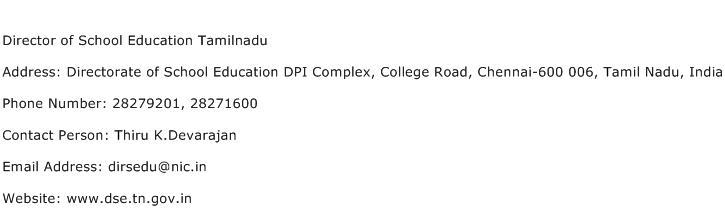 Director of School Education Tamilnadu Address Contact Number