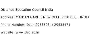 Distance Education Council India Address Contact Number