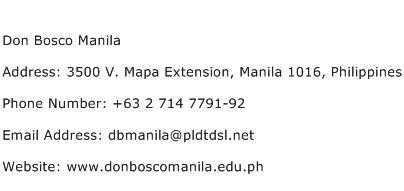 Don Bosco Manila Address Contact Number