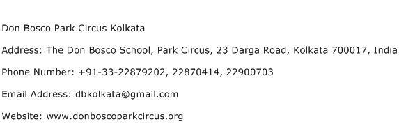 Don Bosco Park Circus Kolkata Address Contact Number