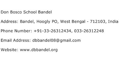 Don Bosco School Bandel Address Contact Number