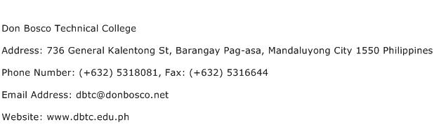 Don Bosco Technical College Address Contact Number