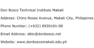 Don Bosco Technical Institute Makati Address Contact Number