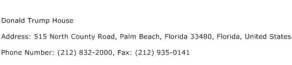 Donald Trump House Address Contact Number