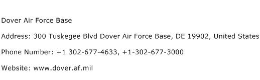 Dover Air Force Base Address Contact Number