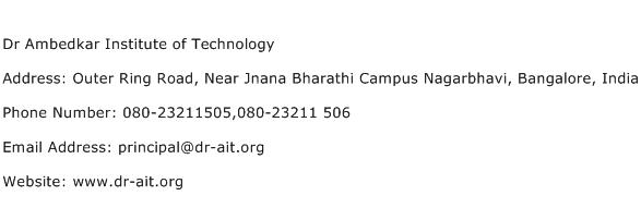 Dr Ambedkar Institute of Technology Address Contact Number