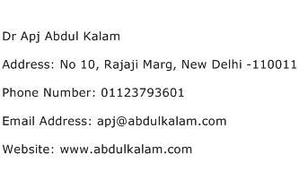 Dr Apj Abdul Kalam Address Contact Number