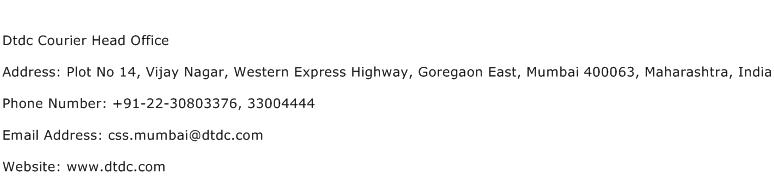 Dtdc Courier Head Office Address Contact Number