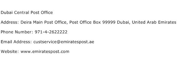 Dubai Central Post Office Address Contact Number