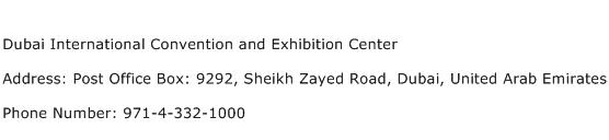 Dubai International Convention and Exhibition Center Address Contact Number