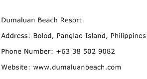 Dumaluan Beach Resort Address Contact Number