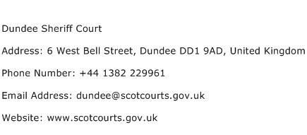 Dundee Sheriff Court Address Contact Number