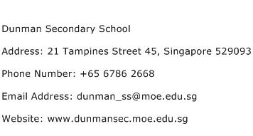 Dunman Secondary School Address Contact Number