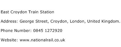 East Croydon Train Station Address Contact Number