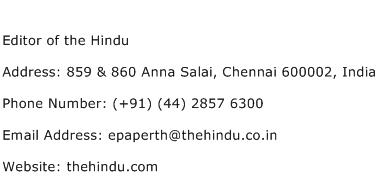 Editor of the Hindu Address Contact Number