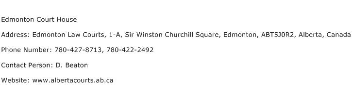 Edmonton Court House Address Contact Number