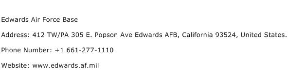 Edwards Air Force Base Address Contact Number