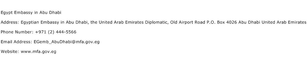 Egypt Embassy in Abu Dhabi Address Contact Number