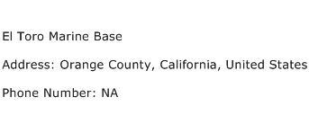 El Toro Marine Base Address Contact Number