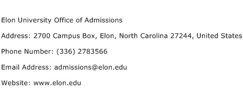Elon University Office of Admissions Address Contact Number