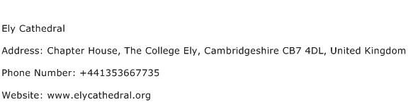 Ely Cathedral Address Contact Number