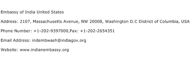 Embassy of India United States Address Contact Number
