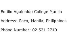 Emilio Aguinaldo College Manila Address Contact Number