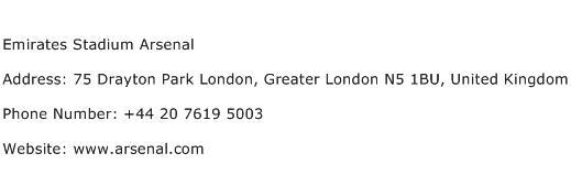 Emirates Stadium Arsenal Address Contact Number