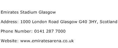 Emirates Stadium Glasgow Address Contact Number
