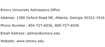 Emory University Admissions Office Address Contact Number