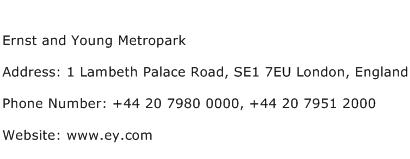 Ernst and Young Metropark Address Contact Number