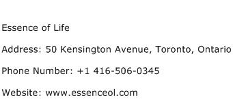 Essence of Life Address Contact Number