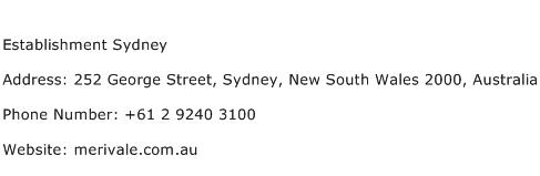 Establishment Sydney Address Contact Number