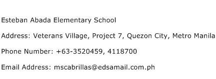 Esteban Abada Elementary School Address Contact Number