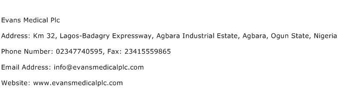Evans Medical Plc Address Contact Number
