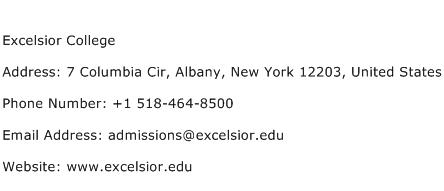 Excelsior College Address Contact Number