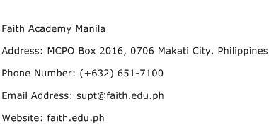 Faith Academy Manila Address Contact Number