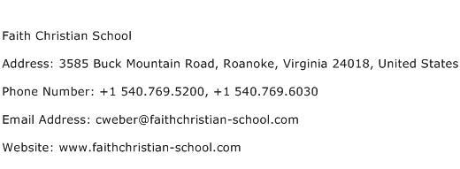 Faith Christian School Address Contact Number