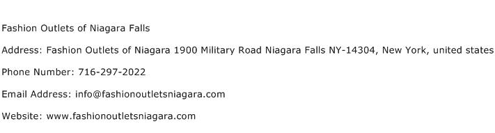 Fashion Outlets of Niagara Falls Address Contact Number